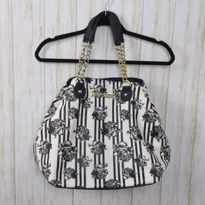 Betsey Johnson XL Black Rose Print Bone Bag